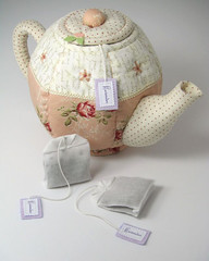 Quilted Teapot & Lavender Teabags (PatchworkPottery) Tags: tea country lavender fabric quilted teapot patchwork teabag sachet