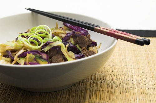Stir fried beef and cabbage with szechuan pepper