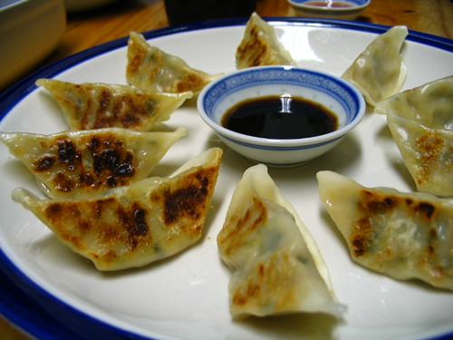 For starter, we had vegetable gyoza (potstickers) with black vinegar ...