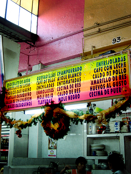 Colorful Sign in Oaxacan Market