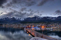 Dusk in Ushuaia, Argentina (Thad Roan - Bridgepix) Tags: city cruise sunset patagonia mountains southamerica argentina night clouds ushuaia lights ship dusk wikipedia ncl blueribbonwinner norwegiancruiselines norwegiandream 200801