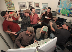 The Home Office (4Durt) Tags: selfportrait photoshop photoshopped cereal multiplicity clones homeoffice computergames threestooges ricechex hamradio workingathome curttoumanian photodomino570 curtsaplenty