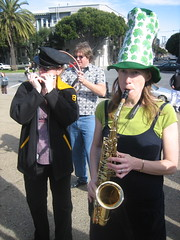 Impromptu Marching Band in Dolores Park today, katie on the sax