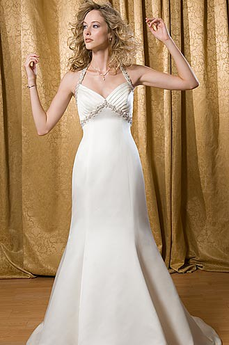white empire wedding dress gown