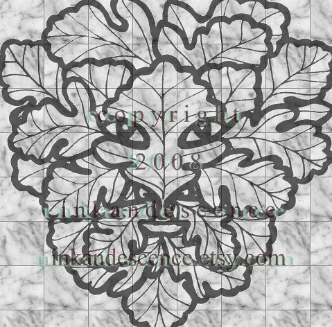 Green Man Stamp Design