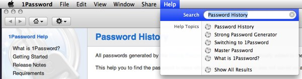 1Password Integrated Help