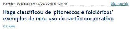 Globo Online Ministro Jorge Hage