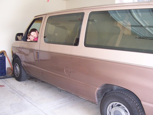 Elijah and Bryna are modelling our recently acquired 10-seater van -- vehicular expansion for the incoming child.