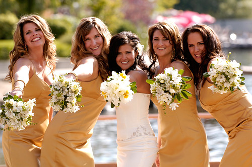 Smiling bride and bridemaids