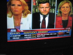 This Kentuckian watches Fox News (sweetbabyboy) Tags: screenshot election kentucky flag americanflag foxnews fox vote republican campaign democrat voters voting voter polls billoreilly pollingplace returns thefactor westernkentucky oreillyfactor lauraingram paducahky kentuckyprimary