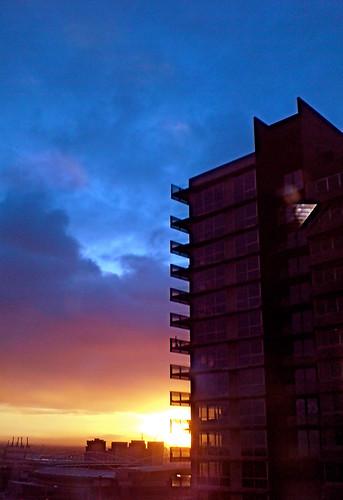 Blue, blue sky on fire