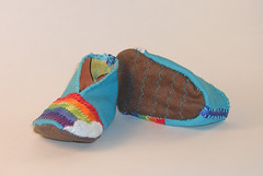 Rainbow Baby Bootie 1 (Crafty Intentions) Tags: baby rainbow embroidery sew felt booties babybootie satinribbon handstitch handsew microsuede machinestitch