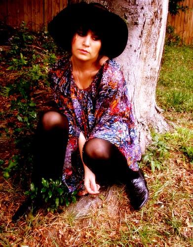 black floral tent dress