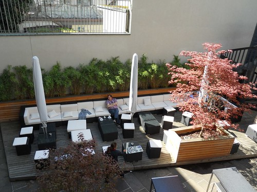 Outdoor lounge on restaurant patio