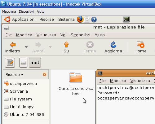 Fig. 11 - Cartelle condivise guest Linux - Punto di mount