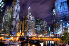 Chicago Night (bryanscott) Tags: chicago building skyline architecture buildings river downtown cityscape michigan hdr hdratnight