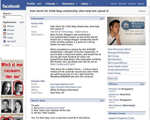 Facebook | Vote Kevin for $10k blog scholarship, then help him spend it!