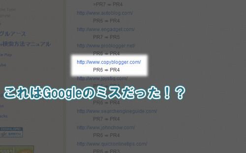 Copybloggerのページランク下落情報