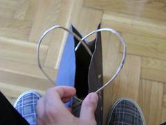 Hearty (billerr) Tags: wood blue love shopping bag paper shoe hand floor heart fingers tips thumb thumbnail planks handles manipulate