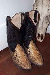 boots and skull (sparesomechange) Tags: ebay boots thrift snakeskin