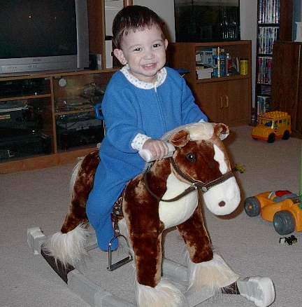 on his new rocking horse