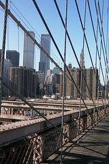 Brooklyn bridge and the World Trade towers