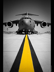 Globemaster (~Clubber~) Tags: bw color canon airplane flying jaw aircraft military air transport flight airshow c17 boeing globemaster airforce usaf selective cias