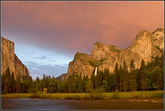 Gates of the Valley in Spring ( !@) Tags: sunset nature clouds landscape spring fineart stock yosemitenationalpark elcapitan bridalveilfalls valleyview mercedriver clearingstorm gatesofthevalley