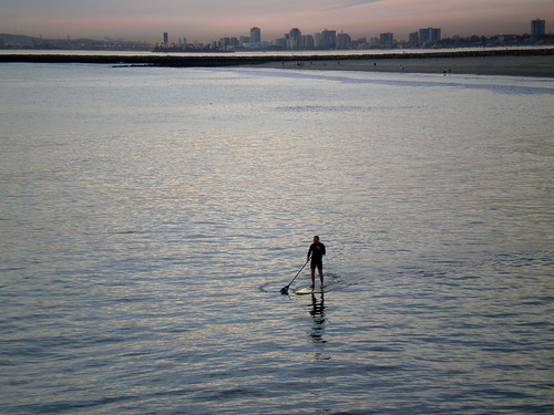 Paddling Away from Long Beach