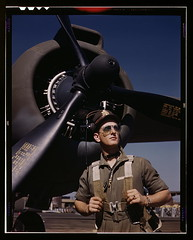 "Lieutenant ""Mike"" Hunter, Army pilot assigned to Douglas Aircraft Company, Long Beach, Calif.  (LOC) (The Library of Congress) Tags: california sky usa mike field sunglasses plane army october aircraft aviation wwii elvis slidefilm worldwarii longbeach 1940s transparency ww2 4x5 lf dac libraryofcongress strength 1942 airforce douglas propeller macho aviator pilot largeformat topgun prop longbeachca armedforces worldwar2 a20 courage wartime militaryaviation transparencies havoc lieutenant calfornia airman daugherty piloto usaaf vintageaircraft singlasses historicalphotographs mikehunter douglasaircraft xmlns:dc=httppurlorgdcelements11 douglasaircraftcompany october1942 dc:identifier=httphdllocgovlocpnpfsac1a35358 alfredtpalmer alfredpalmer lieutenantmikehunter ltmikehunter a20havoc douglasa20 douglasa20havoc"