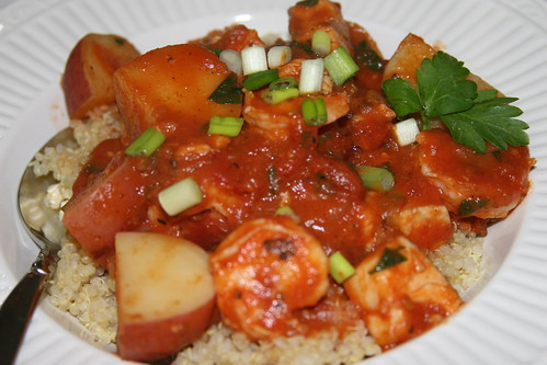 seafood stew over quinoa