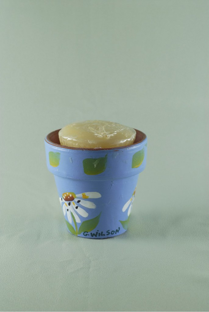 Blue Flower Pot Daisy Candle
