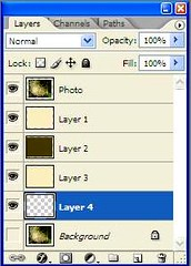 Layers Palette, showing the position of added layers and action taken