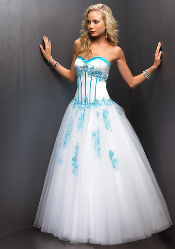 White Blue Prom Dresses - Prom Dresses Cheap