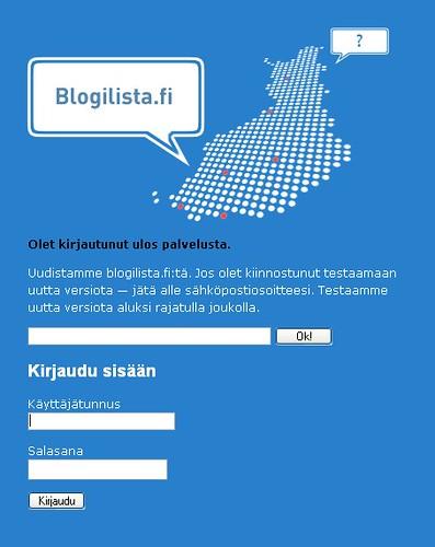 Blogilista beta - Betan kirjautumissivu