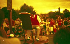 Walt himself in redscale (Meleager) Tags: film canon disney magickingdom bluefilter t60 redscale