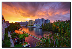 Don't Let the Sun Go Down Without Me* (Fraggle Red) Tags: pink sunset orange clouds canal florida balcony handheld hdr aventura canonefs1022mmf35