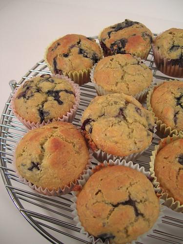 Banana Blueberry Cornmeal Muffins