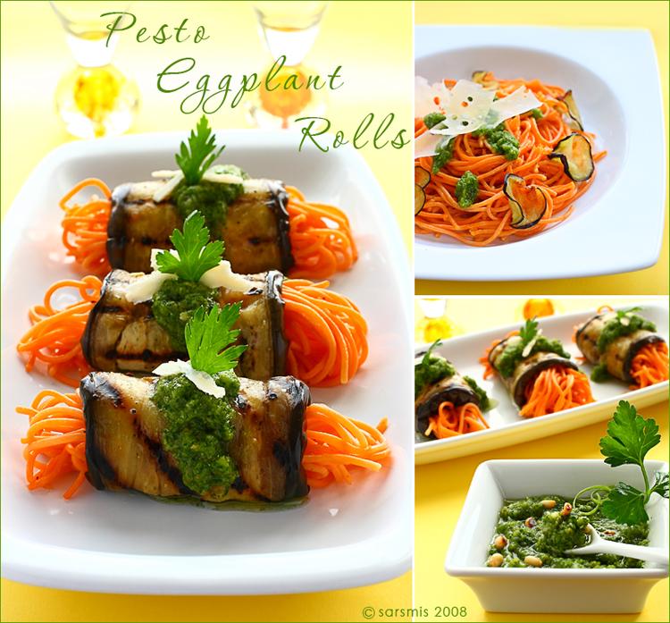 pesto eggplant rolls