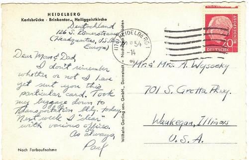 Heidelberg postcard 1954 (rear)