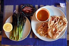 Roast Asparagus and Roti Canai