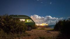 vanlife (Rene Freitag Photography) Tags: vanlife vw t3 syncro exploringtheworld spain peniscola moon stars night ocean oceanfront camping bulli canon 5d 5dii