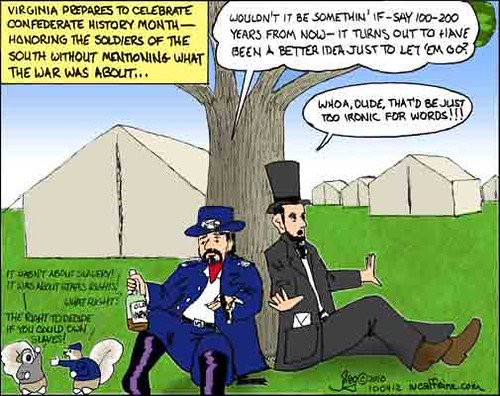 President Lincoln and General Grant discuss the war over a bottle of Grant's favored spirit, Old Varnish.