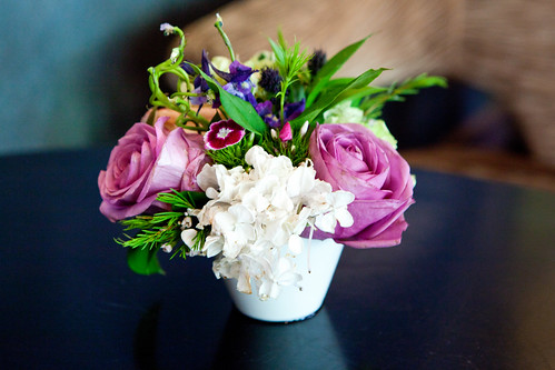 Floral centerpiece at the table