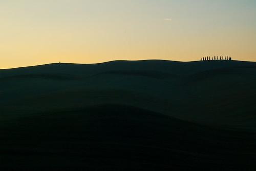 Alba sulle colline della Val D'Orcia
