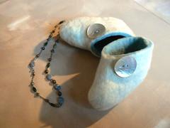 booties pale blue (Hannas eyes) Tags: wool felting handmade felt button crafty slippers babybooties babyblue