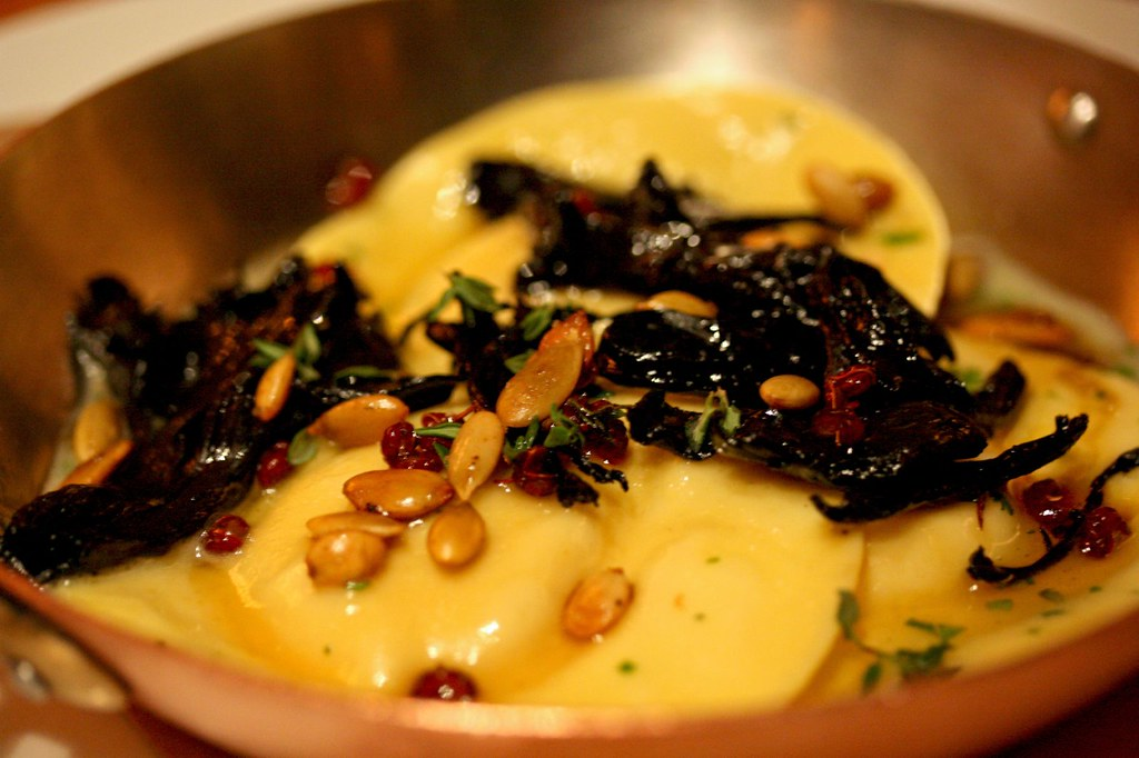 Close up of Pumpkin Ravioli & Hen of the Woods Mushrooms