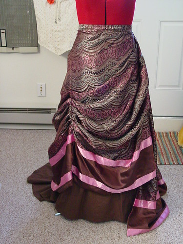 Brown & Pink Reception Dress - Overskirt Front