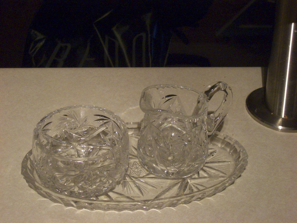 Crystal sugar bowl and coffee creamer with plate