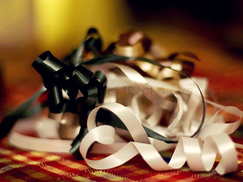 Gift ribbon heart and bokeh